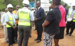 Minister of Lands AtupeleMuluzi with senior officials at the ministry inspecting road project