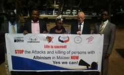 Malawi CSos protesting albino killings