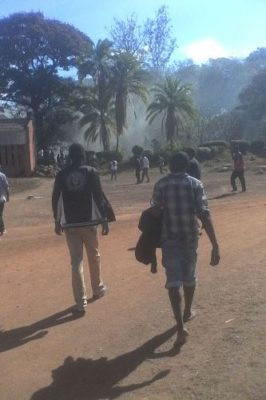 Students enganging in running battles with the Police