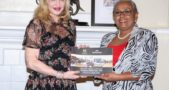 Madonna poses for a photograph with First Lady Kenyatta in Nairobi
