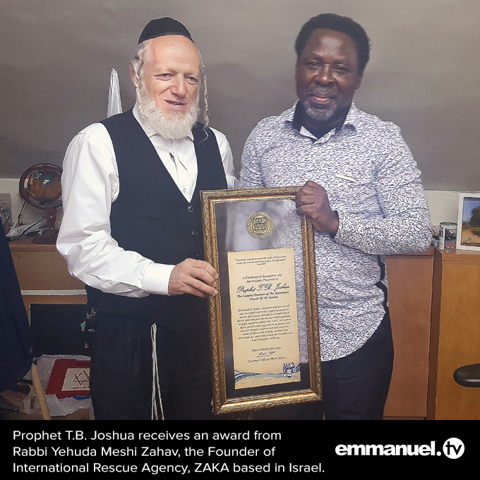 TB Joshua Receives Humanitarian Award In Israel - The Maravi Post