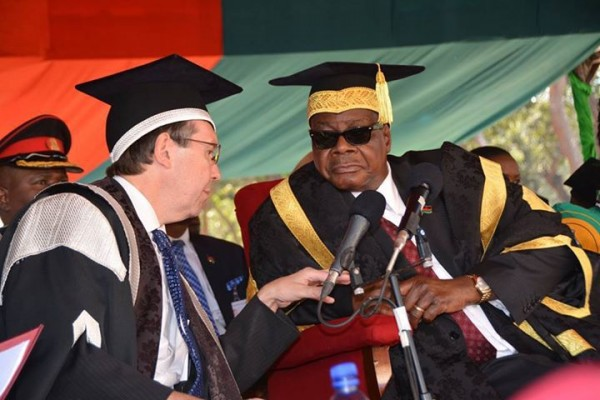 Govt has no money; Mutharika appears to be telling Mzuni Vice Chancellor in this file photo
