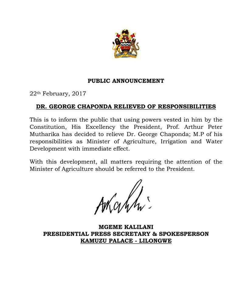 Chaponda Fired