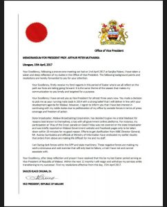 Malawi Police Hunting Persons Behind Bogus Letter About Veep