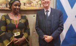 Jessie Kabwira and Minister Nicholas Sturgeon