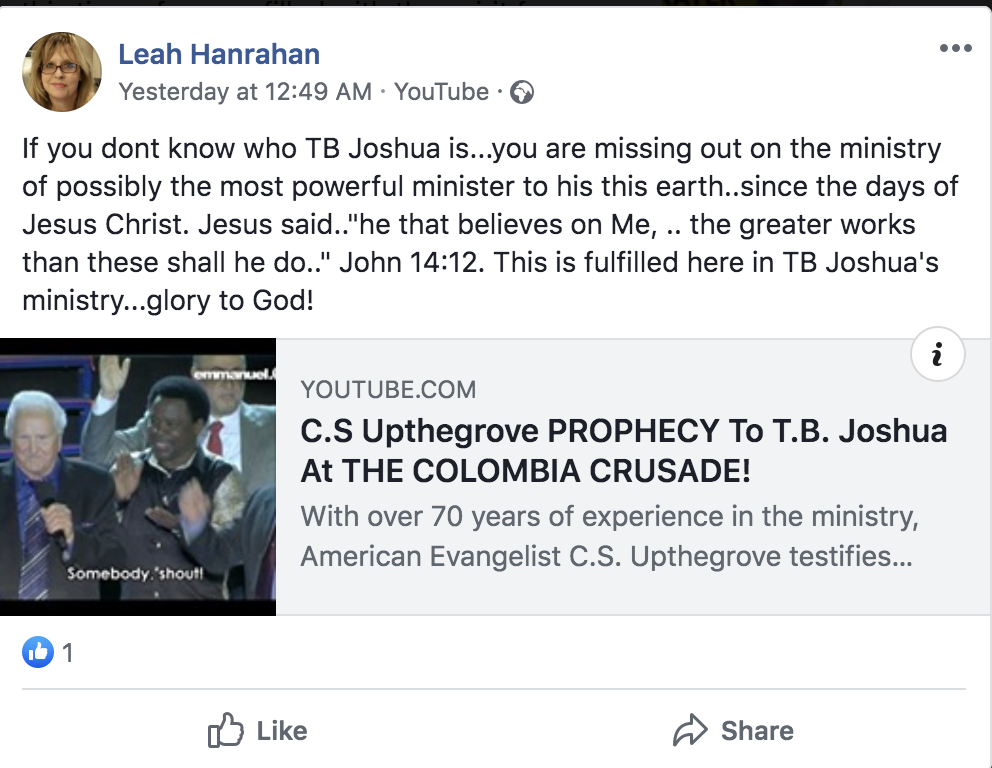 """TB Joshua is The World's """"MOST POWERFUL MINISTER"""" - American - The"""